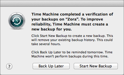 Time Machine Error Message